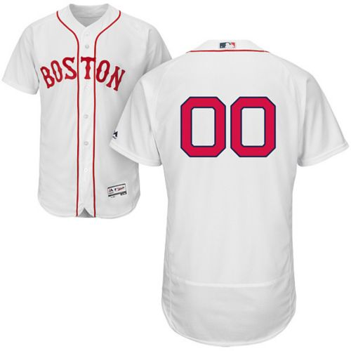 cd1b2371e Majestic Men s Custom Authentic Boston Red Sox Flex Base Home White  On-Field Jersey