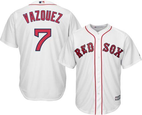 0c38ce910e8 Majestic Men s Replica Boston Red Sox Christian Vasquez  7 Cool Base Home  White Jersey. noImageFound. Previous
