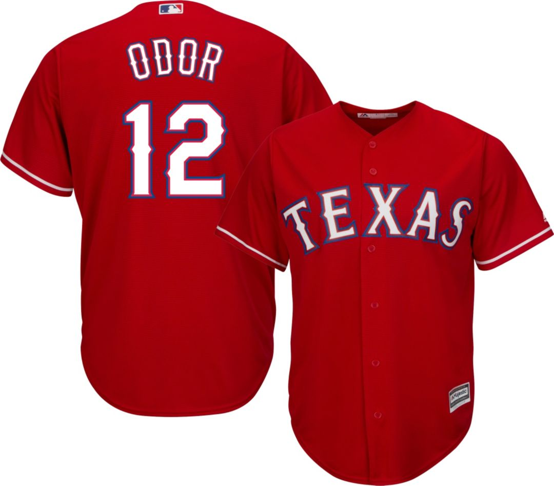 cc3ddae5 Majestic Men's Replica Texas Rangers Rougned Odor #12 Cool Base Alternate  Red Jersey