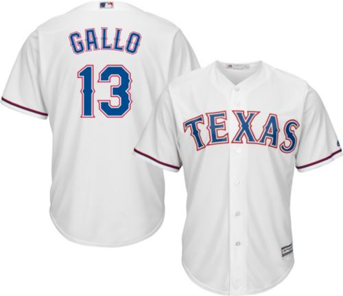 f50bae0fe73 Majestic Men s Replica Texas Rangers Joey Gallo  13 Cool Base Home White  Jersey