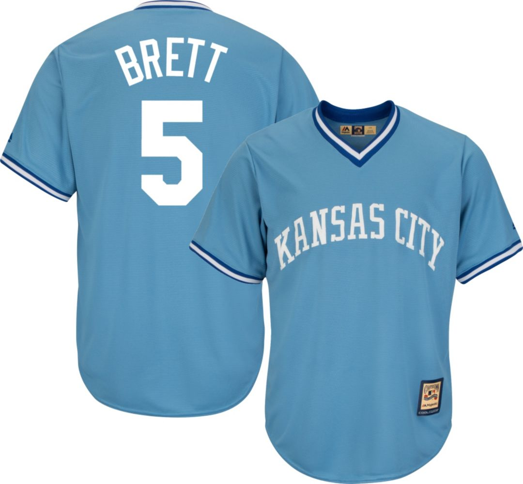 6d81285bd6681 Majestic Men's Replica Kansas City Royals George Brett Cool Base ...