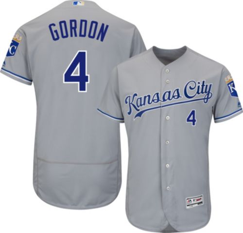 1e69c7fc622 Majestic Men s Authentic Kansas City Royals Alex Gordon  4 Road Grey Flex  Base On-Field Jersey. noImageFound. Previous