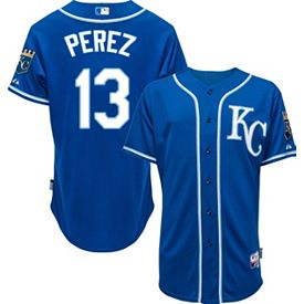 san francisco 93be8 0d968 Majestic Men's Authentic Kansas City Royals Salvador Perez #13 Cool Base  Alternate Royal On-Field Jersey