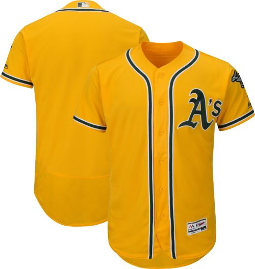 0cee5b882 Majestic Men s Authentic Oakland Athletics Alternate Gold Flex Base  On-Field Jersey. noImageFound. Previous