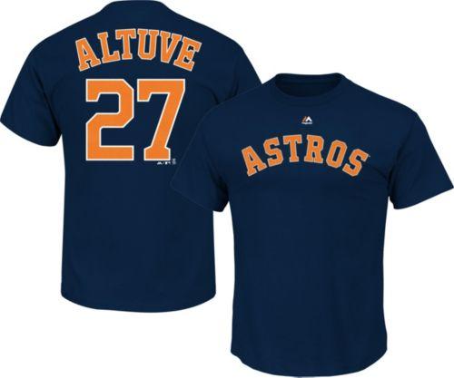 9668583d1 Majestic Men s Houston Astros Jose Altuve  27 Navy T-Shirt