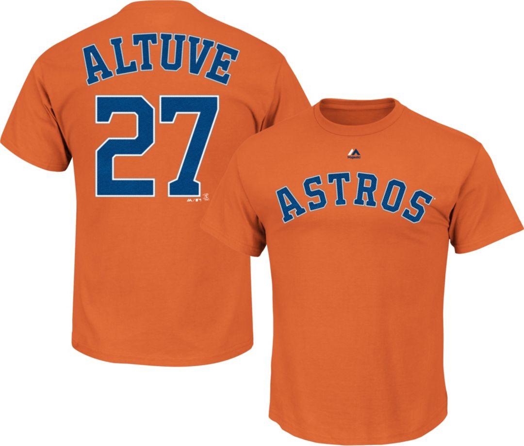 9c330ba604474 Majestic Men's Houston Astros Jose Altuve #27 Orange T-Shirt ...