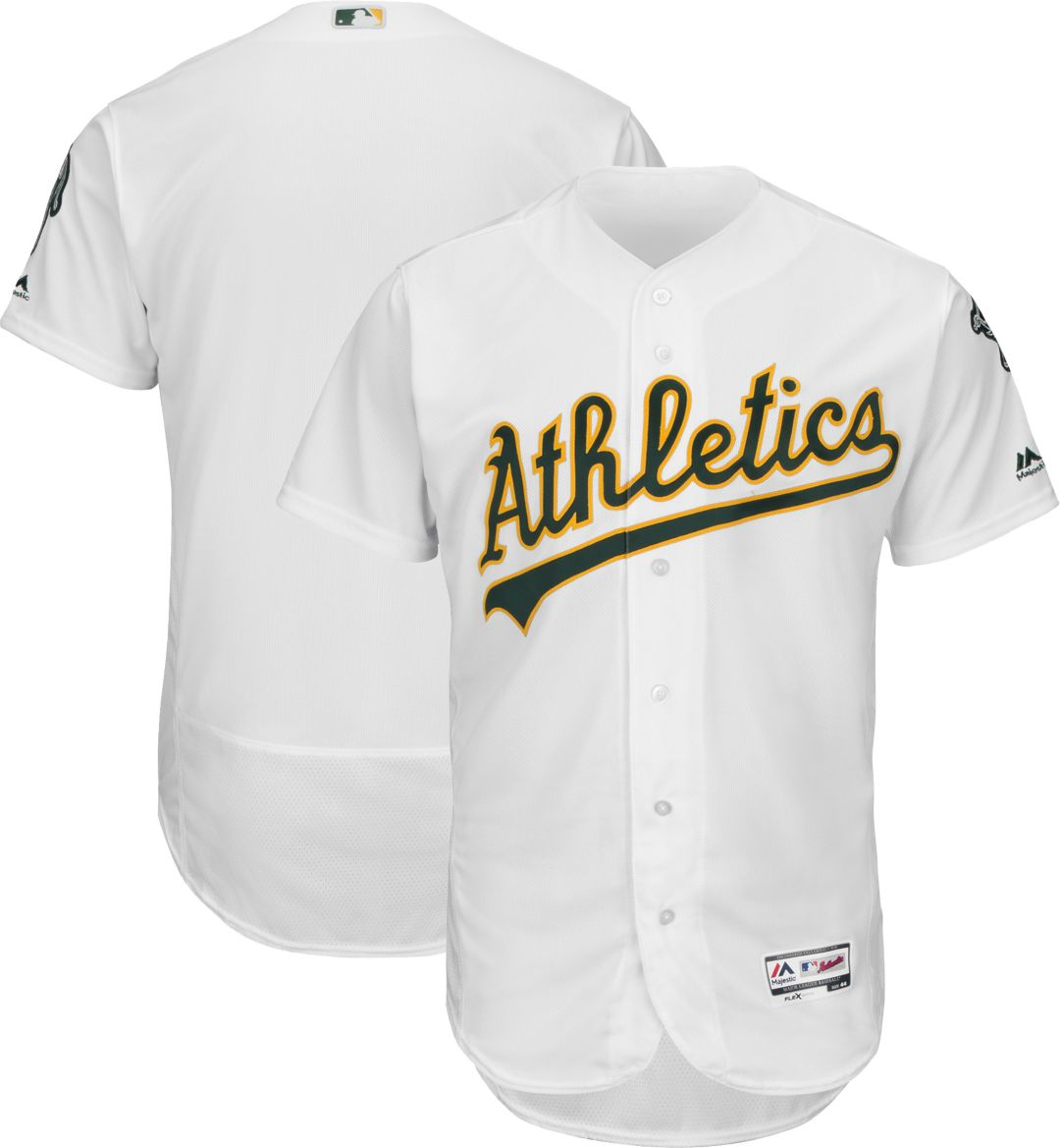 856702911 Majestic Men's Authentic Oakland Athletics Home White Flex Base On-Field  Jersey