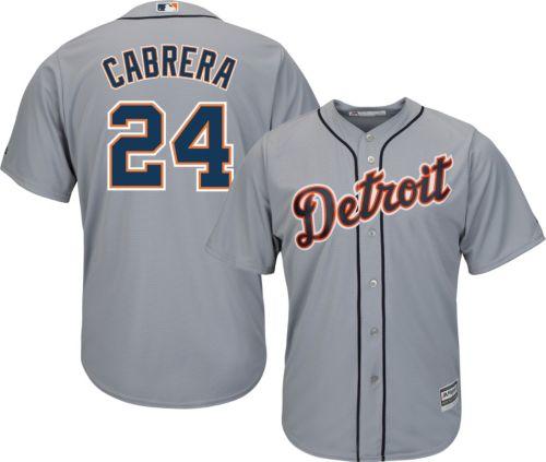 sale retailer 023d4 bb441 Majestic Men s Replica Detroit Tigers Miguel Cabrera  24 Cool Base Road  Grey Jersey. noImageFound. Previous