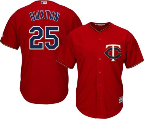 76c5d7367a3 Majestic Men s Replica Minnesota Twins Byron Buxton  25 Cool Base Alternate  Red Jersey. noImageFound. Previous