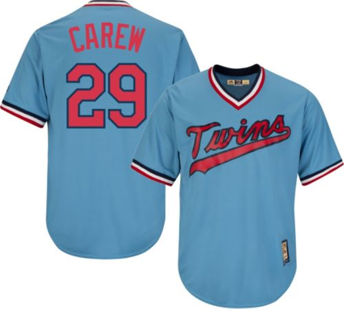 133d59aa8c3 Majestic Men's Replica Minnesota Twins Rod Carew Cool Base Light Blue  Cooperstown Jersey