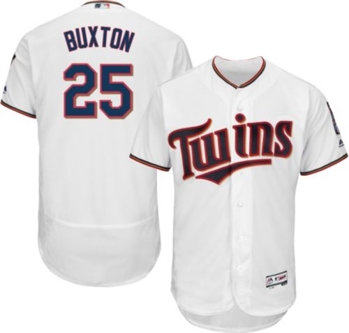 7d8e881aa Majestic Men s Authentic Minnesota Twins Byron Buxton  25 Home White ...