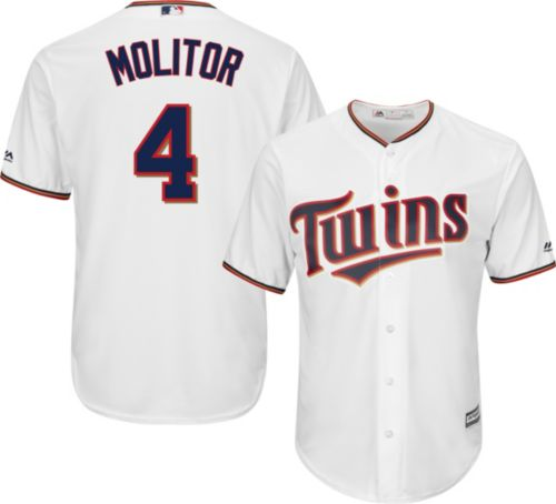 89053d9e822 Majestic Men's Replica Minnesota Twins Paul Molitor #4 Cool Base Home White  Jersey. noImageFound. Previous