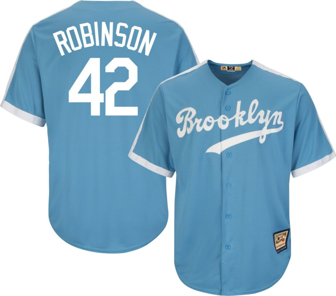 ff25d5ac5 Majestic Men's Replica Brooklyn Dodgers Jackie Robinson Cool Base Light Blue  Cooperstown Jersey