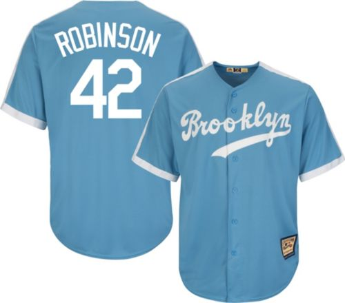 89fa30e6cdf Majestic Men s Replica Brooklyn Dodgers Jackie Robinson Cool Base Light  Blue Cooperstown Jersey. noImageFound. Previous