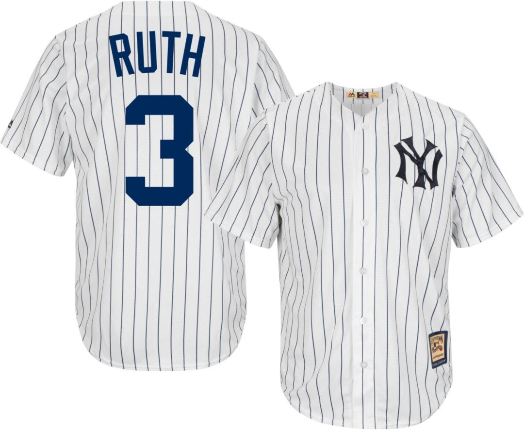 d20d7a48a Majestic Men's Replica New York Yankees Babe Ruth Cool Base White  Cooperstown Jersey