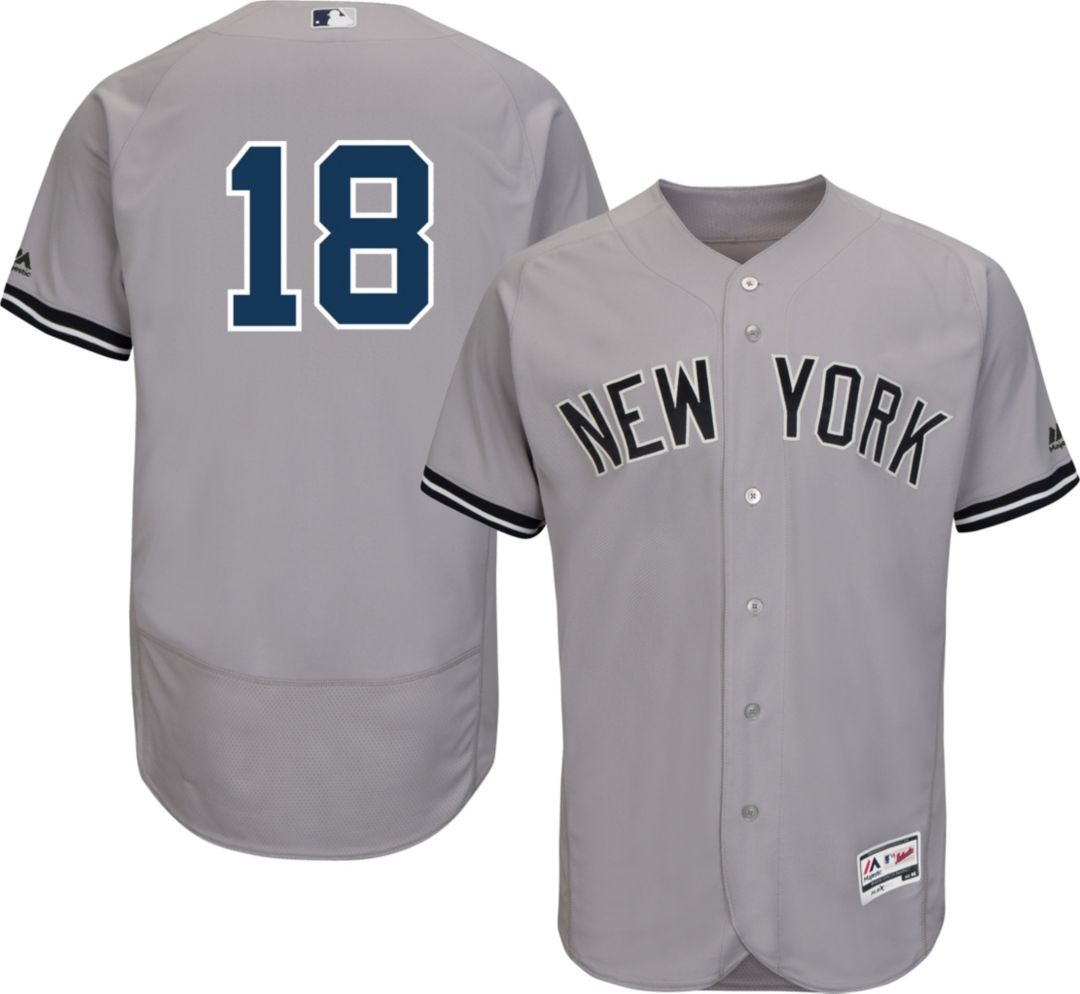 newest 78376 c7ff7 Majestic Men's Authentic New York Yankees Didi Gregorius #18 Road Grey Flex  Base On-Field Jersey