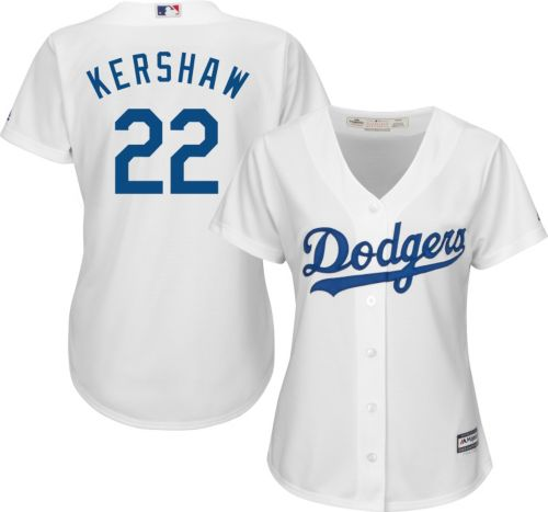 88fcf80f4 Majestic Women s Replica Los Angeles Dodgers Clayton Kershaw  22 Cool Base  Home White Jersey. noImageFound. Previous