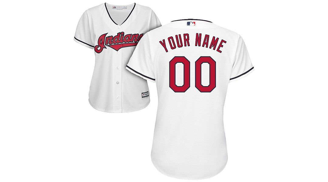 974d0147 Majestic Women's Custom Cool Base Replica Cleveland Indians Home White  Jersey