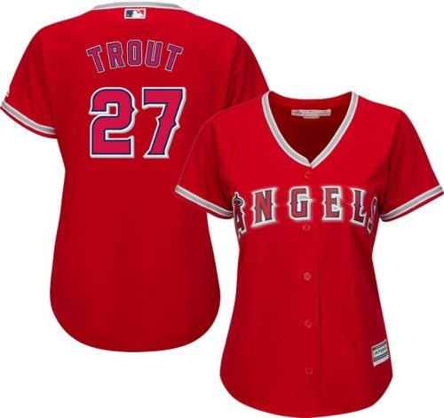 938ab52f2 Majestic Women s Replica Los Angeles Angels Mike Trout  27 Cool Base Alternate  Red Jersey. noImageFound. Previous