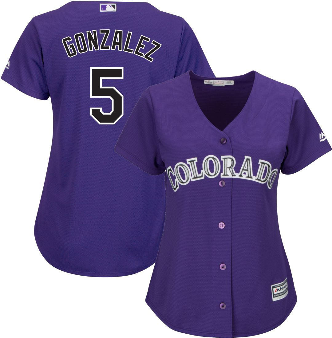 c99921973 Majestic Women's Replica Colorado Rockies Carlos Gonzalez #5 Cool Base  Alternate Purple Jersey. noImageFound. Previous