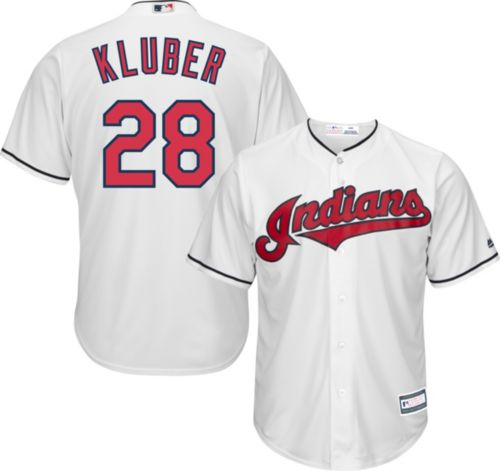 981bb51d14b Youth Replica Cleveland Indians Corey Kluber #28 Home White Jersey ...
