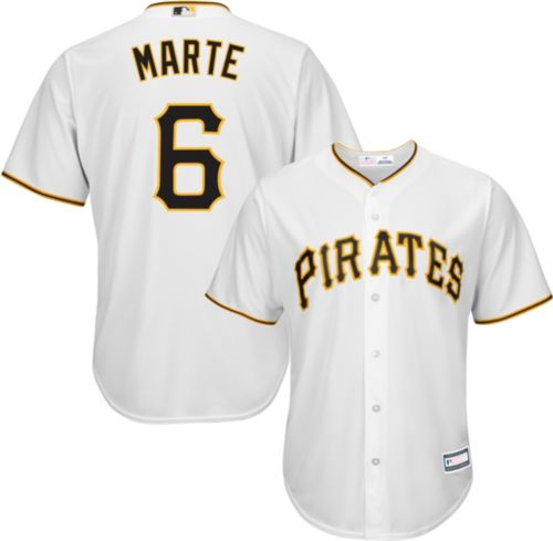 10d3bc45b04 Youth Replica Pittsburgh Pirates Starling Marte  6 Home White Jersey ...