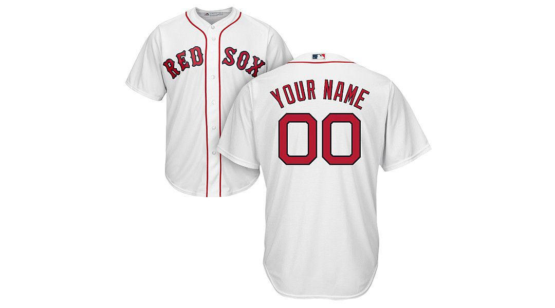 ca104ae496ad5 Majestic Youth Custom Cool Base Replica Boston Red Sox Home White ...