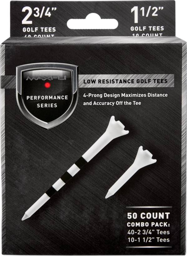 """Maxfli Performance Series Low Resistance 2.75"""" & 1.5"""" White Golf Tees – 50-Pack product image"""