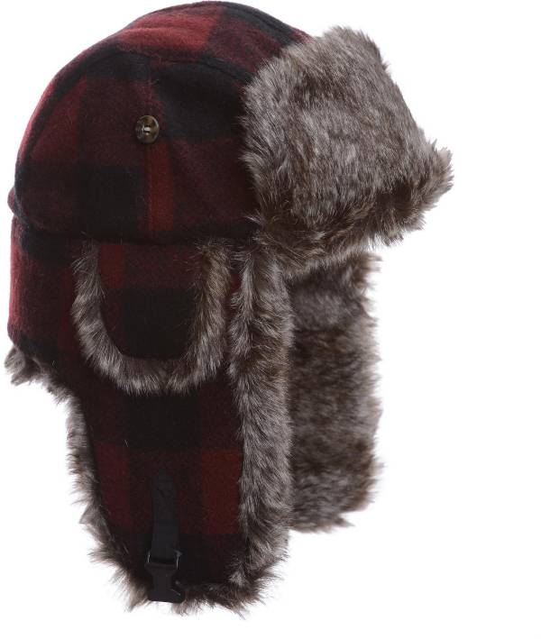 Mad Bomber Men's Maroon Plaid Wool Faux Fur Bomber Hat product image