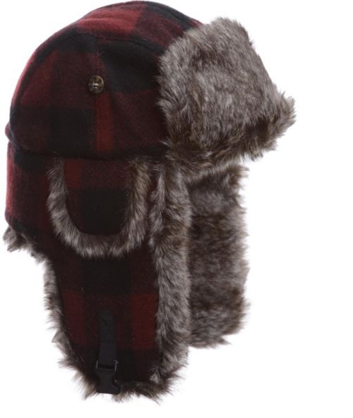 Mad Bomber Men s Maroon Plaid Wool Faux Fur Bomber Hat  a071f693e40