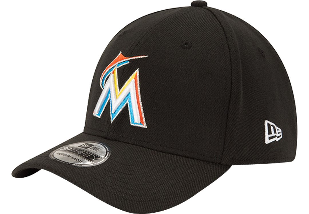 newest d95a5 3dd9e New Era Men s Miami Marlins 39Thirty Classic Black Stretch Fit Hat.  noImageFound. 1