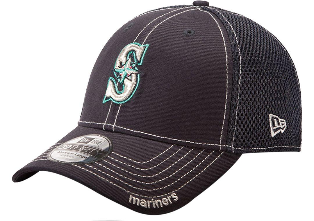 reputable site ce0f2 b4e8b New Era Men s Seattle Mariners 39Thirty Neo Navy Stretch Fit Hat.  noImageFound. 1