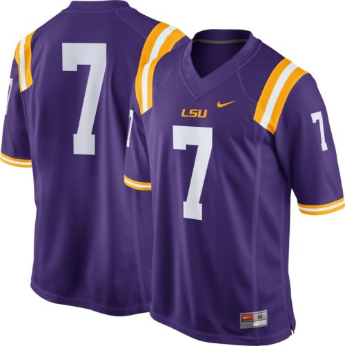 Nike Men s LSU Tigers  7 Purple Game Football Jersey. noImageFound. Previous b5e1fb577