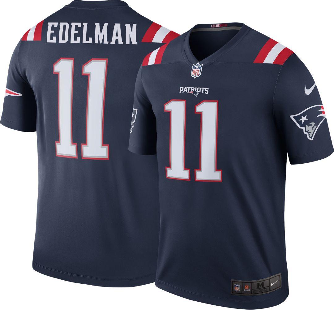18959195 Nike Men's Color Rush New England Patriots Julian Edelman #11 Legend Game  Jersey