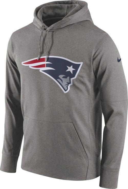 Nike Men s New England Patriots Performance Circuit Logo Essential Grey  Hoodie 48bcb40ec