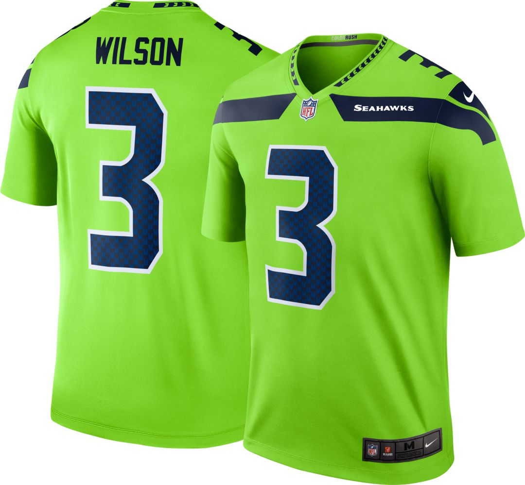 New Nike Men's Color Rush Seattle Seahawks Russell Wilson #3 Legend  hot sale