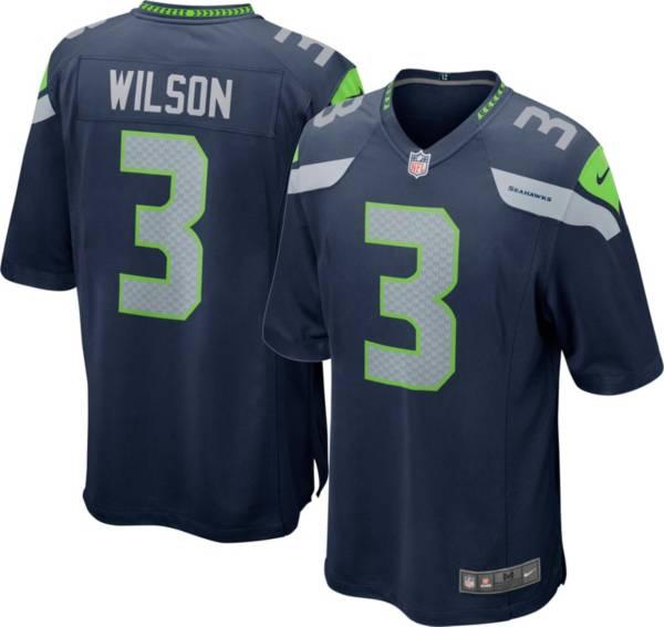 Nike Men's Seattle Seahawks Russell Wilson #3 Navy Game Jersey