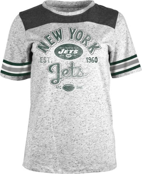 NFL Team Apparel Women's New York Jets Peppercorn Throwback Grey T-Shirt product image