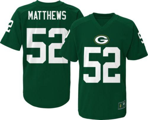 NFL Team Apparel Youth Green Bay Packers Clay Matthews  52 Green T ... e4e91f31951e