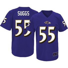 Top NFL Team Apparel Youth Baltimore Ravens Terrell Suggs #55 Purple T  free shipping