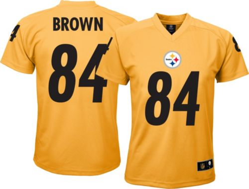 53ed50de0 NFL Team Apparel Youth Pittsburgh Steelers Antonio Brown  84 Gold T-Shirt