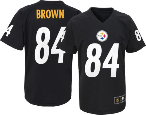 NFL Team Apparel Youth Pittsburgh Steelers Antonio Brown  84 Black T-Shirt 2773bdccd
