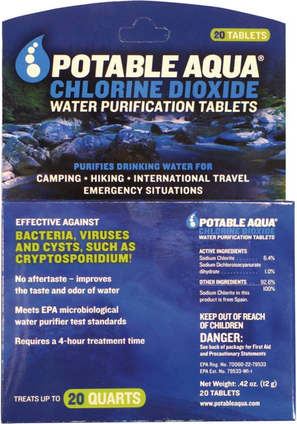 Potable Aqua Chlorine Dioxide Water Purification Tablets – 20 Pack product image