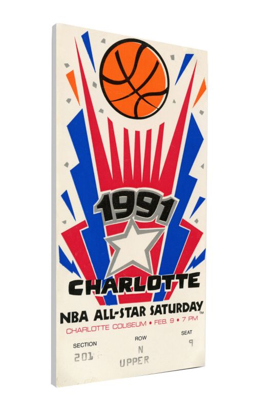 1991 NBA Slam Dunk Contest Canvas Ticket NoImageFound 1