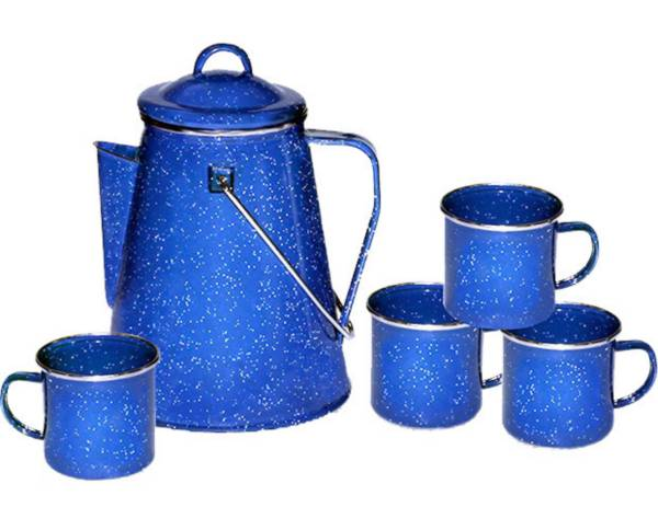 Stansport Enamel 8-Cup Coffee Percolator and Four 12 oz. Mugs product image