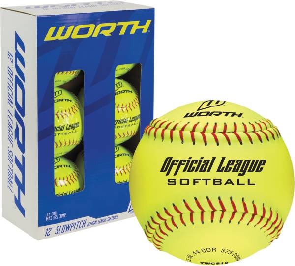 """Worth 12"""" Official League Slow Pitch Softballs - 6 Pack product image"""
