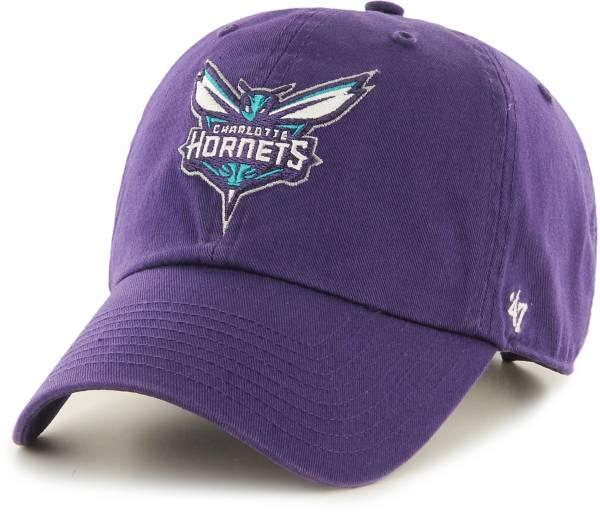 '47 Men's Charlotte Hornets Purple Clean Up Adjustable Hat product image