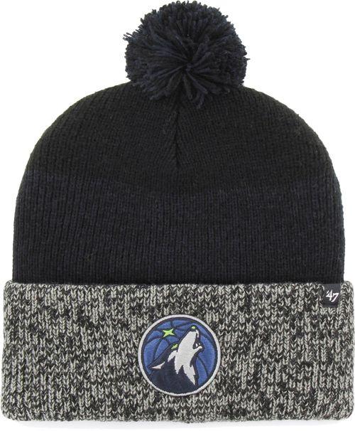 47 Men s Minnesota Timberwolves Static Black Knit Hat  09cccff7860