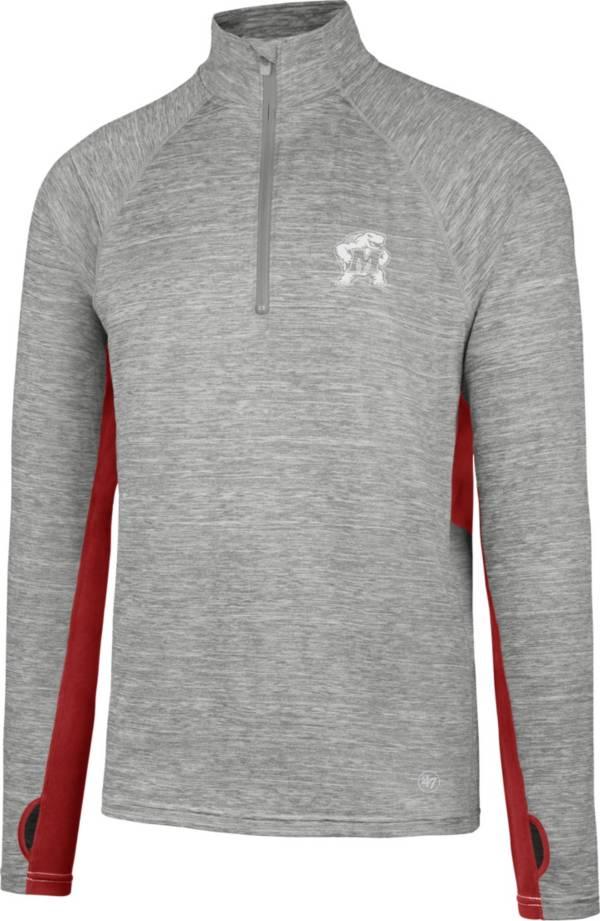 '47 Men's Maryland Terrapins Grey Forward Microlite Quarter-Zip Shirt product image