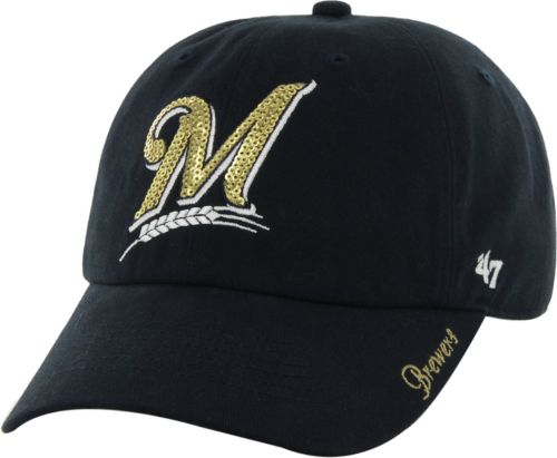 c2bf84d3cb2ff 47 Women s Milwaukee Brewers Sparkle Clean Up Navy Adjustable Hat ...